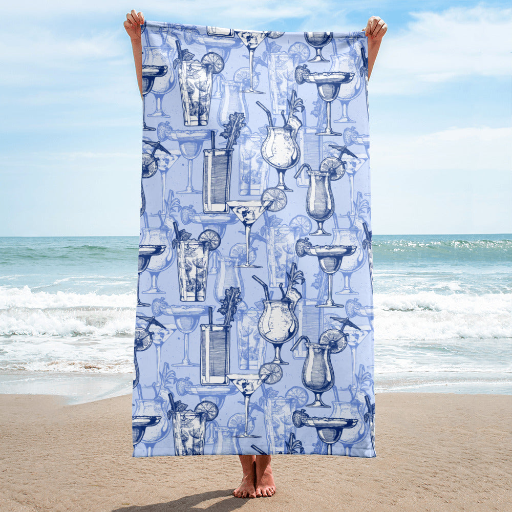 Mai Tai and Mojito Blue Beach Towel | Dog & Shark | Funny Gift Ideas