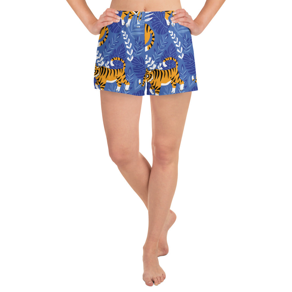 Tiger Blue Print Women's Athletic Short Shorts | Dog & Shark | Funny Gift Ideas