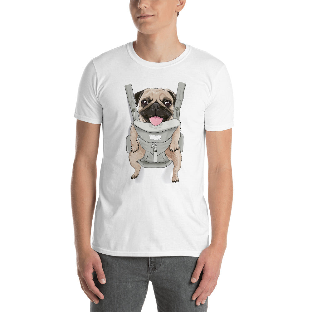 Pug in a Carrier Graphic Tee | Dog & Shark | Funny Gift Ideas