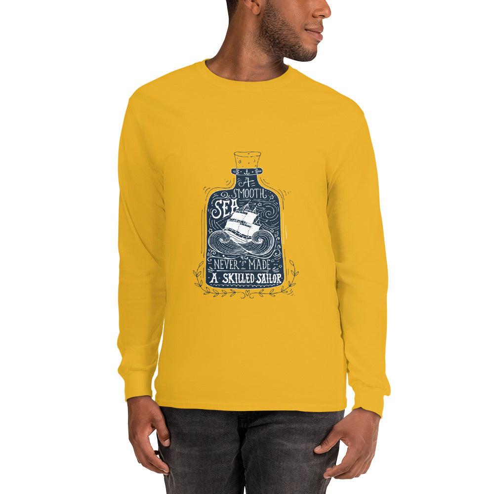 Smooth Sea Skilled Sailor Long Sleeve Shirt | Dog & Shark | Funny Gift Ideas
