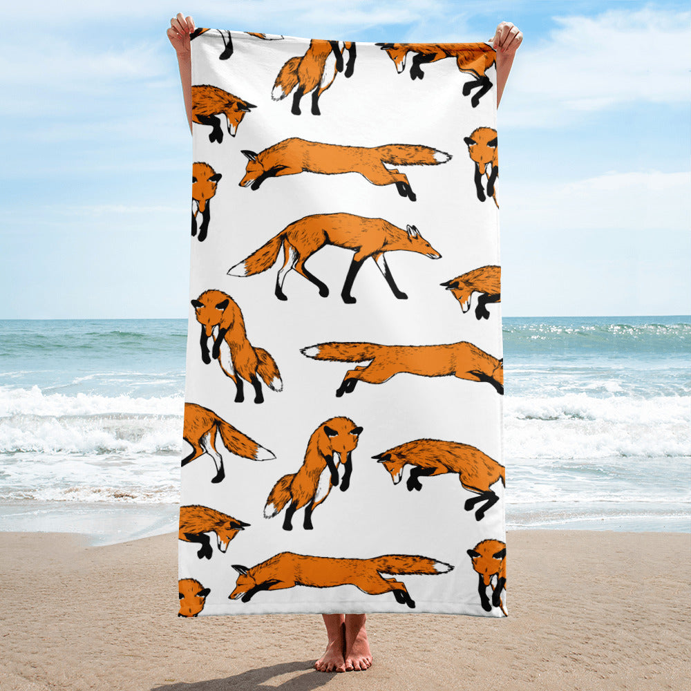 Fantastic Mr. Fox Beach Towel - Dog & Shark