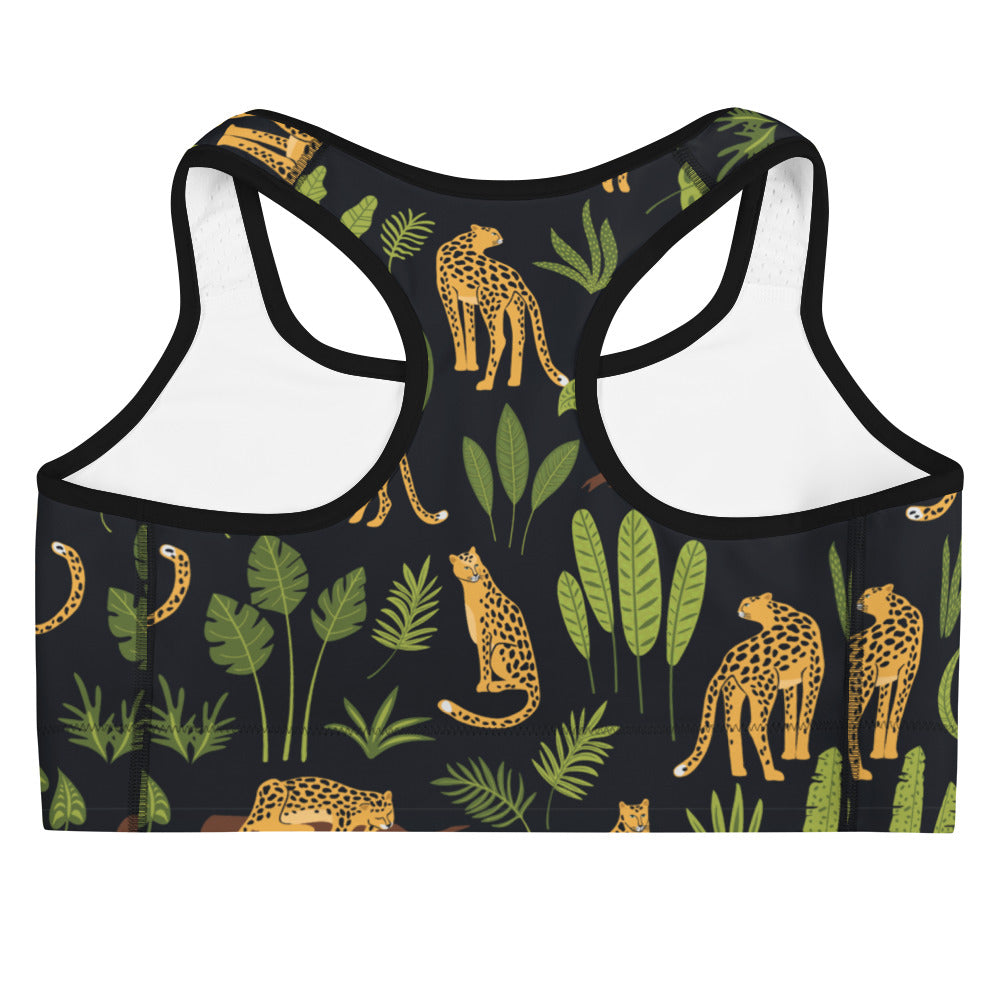 Leopards and Tropical Print Sports Bra | Dog & Shark | Funny Gift Ideas