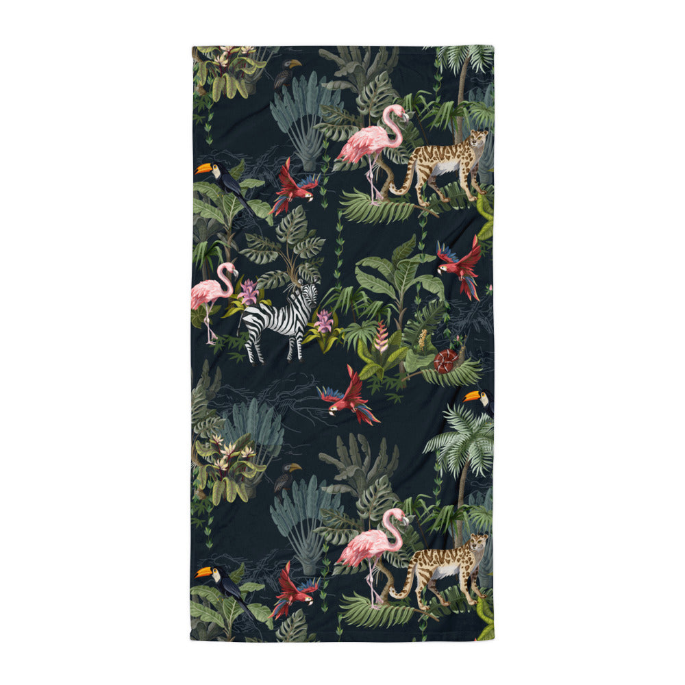 Flamingo, Zebra, Cheetah Jungle Beach Towel | Dog & Shark | Funny Gift Ideas