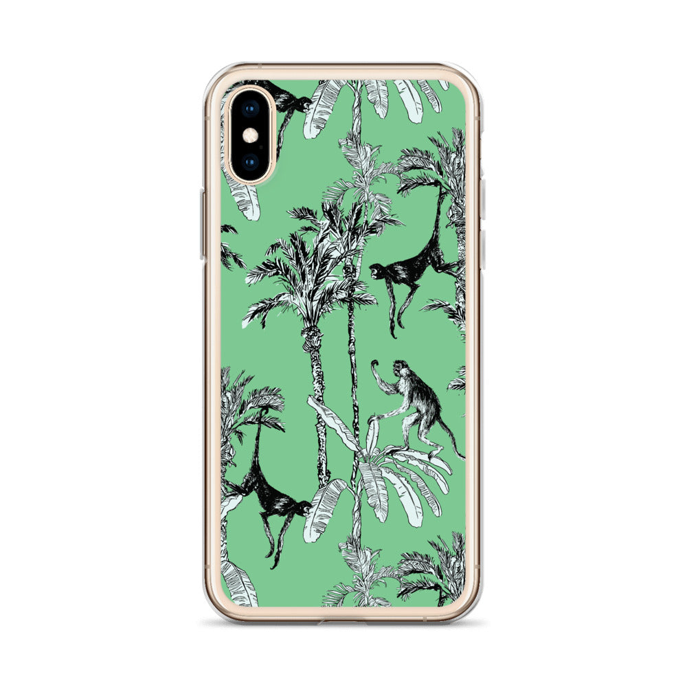 Green Toile Monkey Jungle iPhone Case (Generations 6 - 11) | Dog & Shark | Funny Gift Ideas