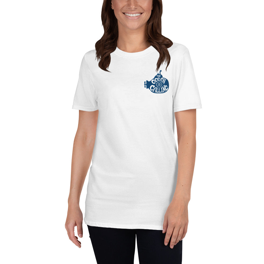 The Ocean is Calling Embroidered Unisex T-Shirt | Dog & Shark | Funny Gift Ideas
