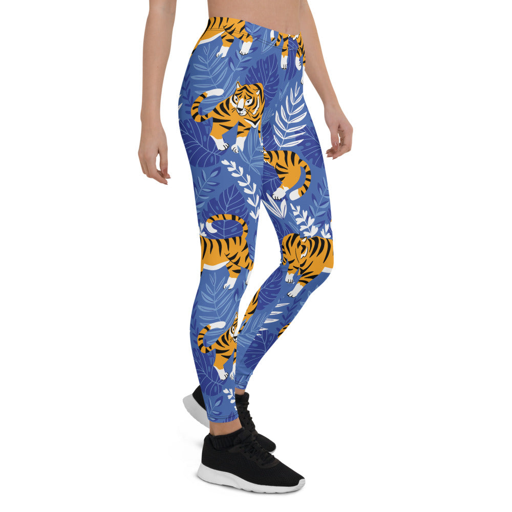 TIger Blue Print Yoga Leggings - Dog & Shark