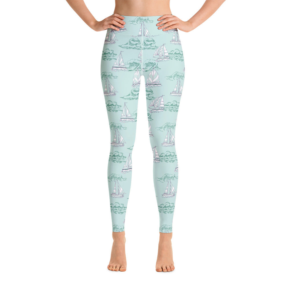 Mint Sailboat Print Yoga Leggings | Dog & Shark | Funny Gift Ideas