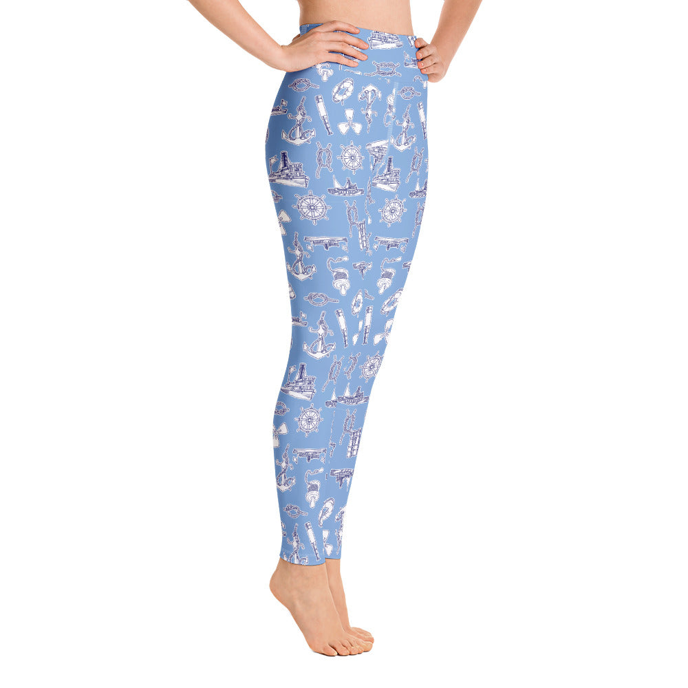 Yachts and Knots Nautical High Waisted Yoga Leggings | Dog & Shark | Funny Gift Ideas