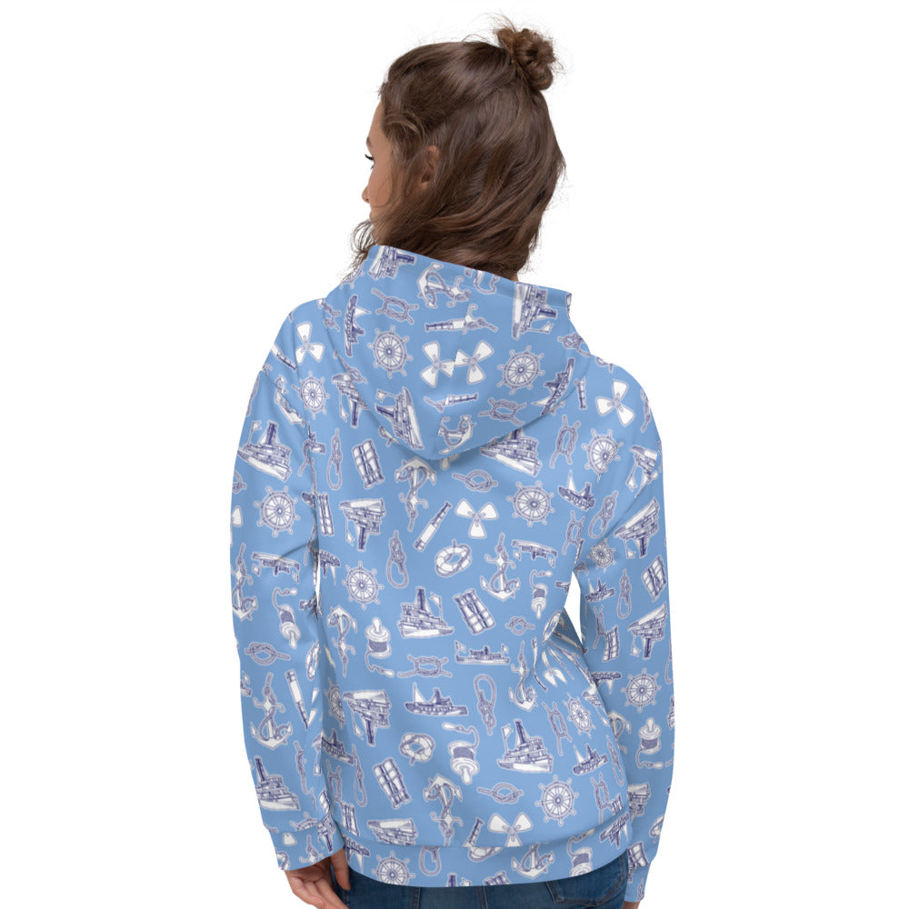 Yachts and Knots Nautical Print Hoodie | Dog & Shark | Funny Gift Ideas