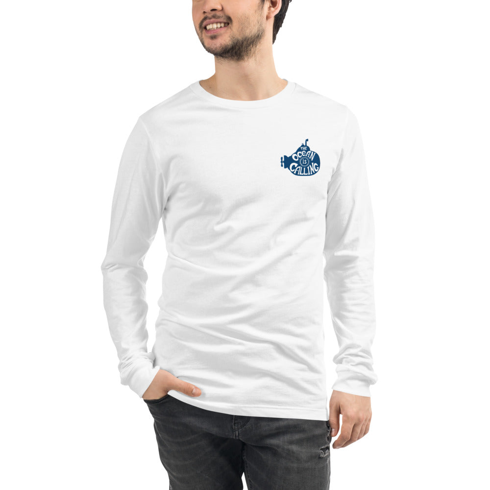 The Ocean is Calling Embroidered Long Sleeve Tee | Dog & Shark | Funny Gift Ideas