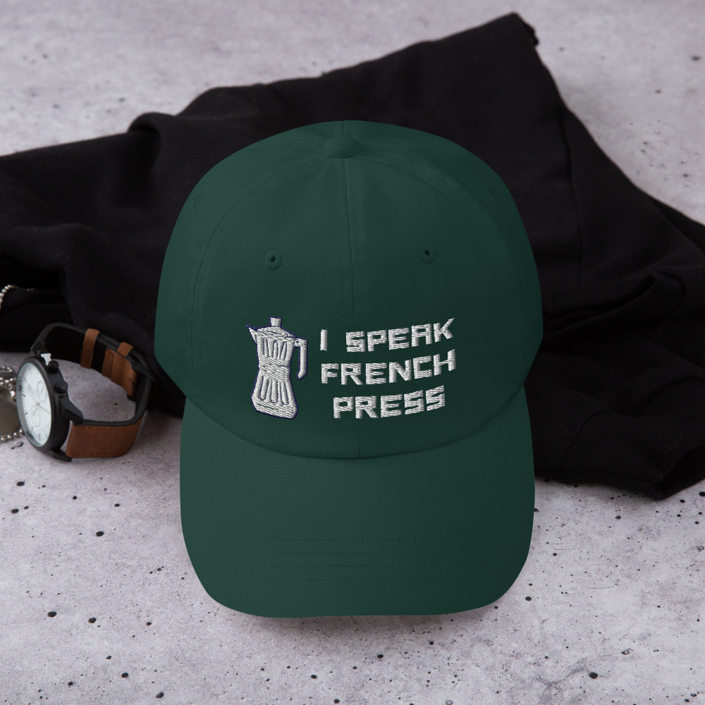I Speak French Press Baseball Hat | Dog & Shark | Funny Gift Ideas