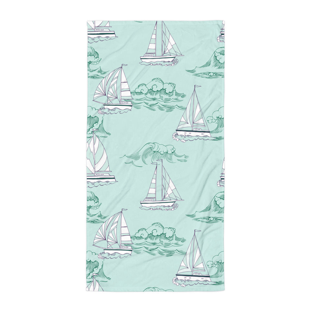Mint Sailboat Print Beach Towel | Dog & Shark | Funny Gift Ideas