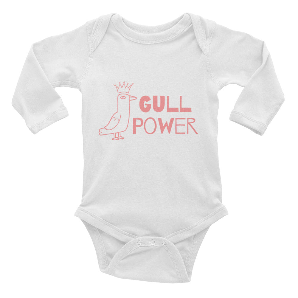 Gull Power White Baby Onesie | Dog & Shark | Funny Gift Ideas