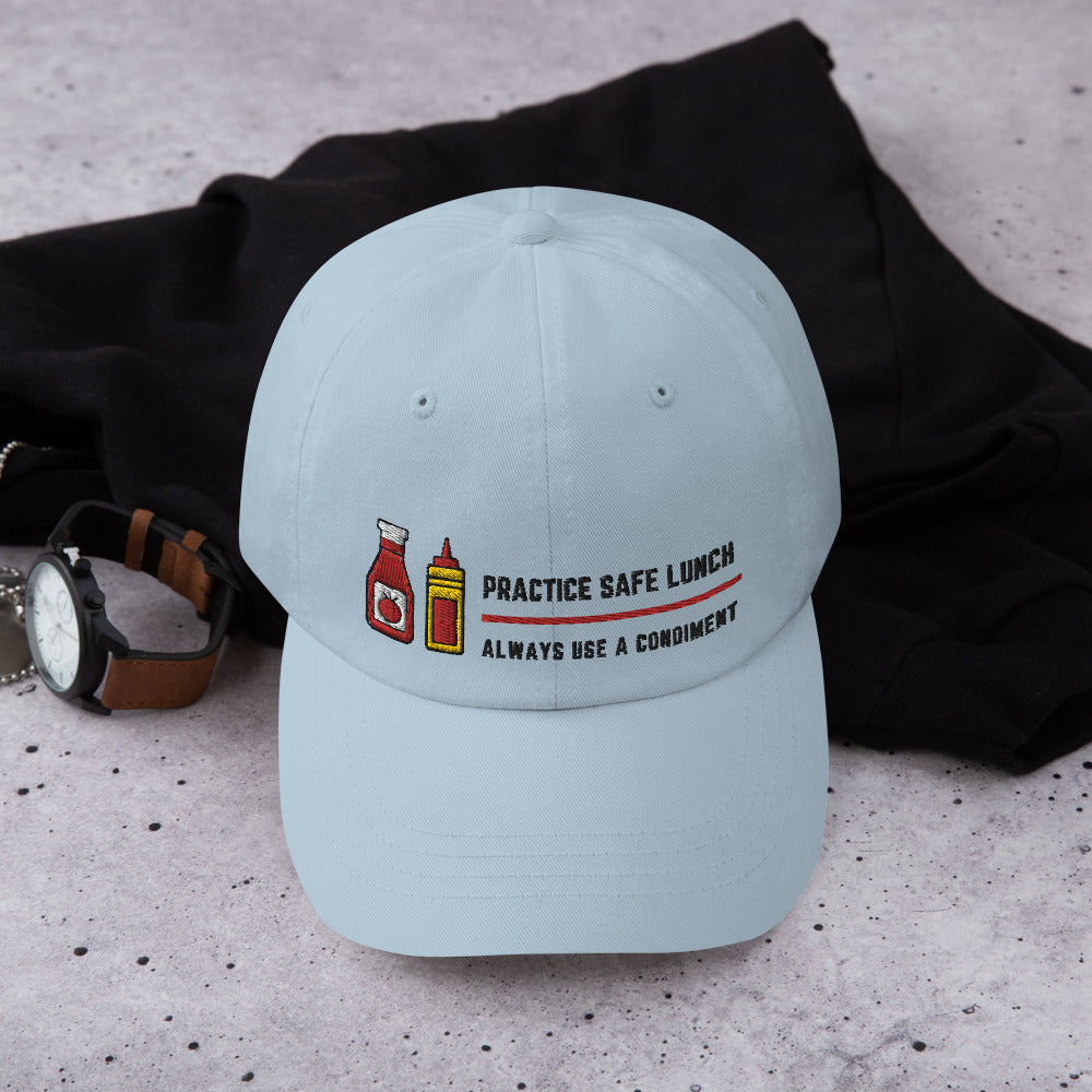 Practice Safe Lunch Embroidered Hat | Dog & Shark | Funny Gift Ideas