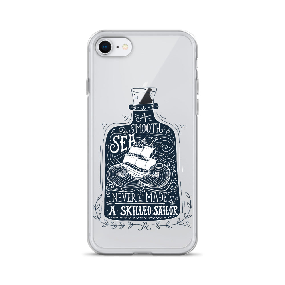 Smooth Sea Skilled Sailor iPhone Case (Generations 6 - 11) | Dog & Shark | Funny Gift Ideas