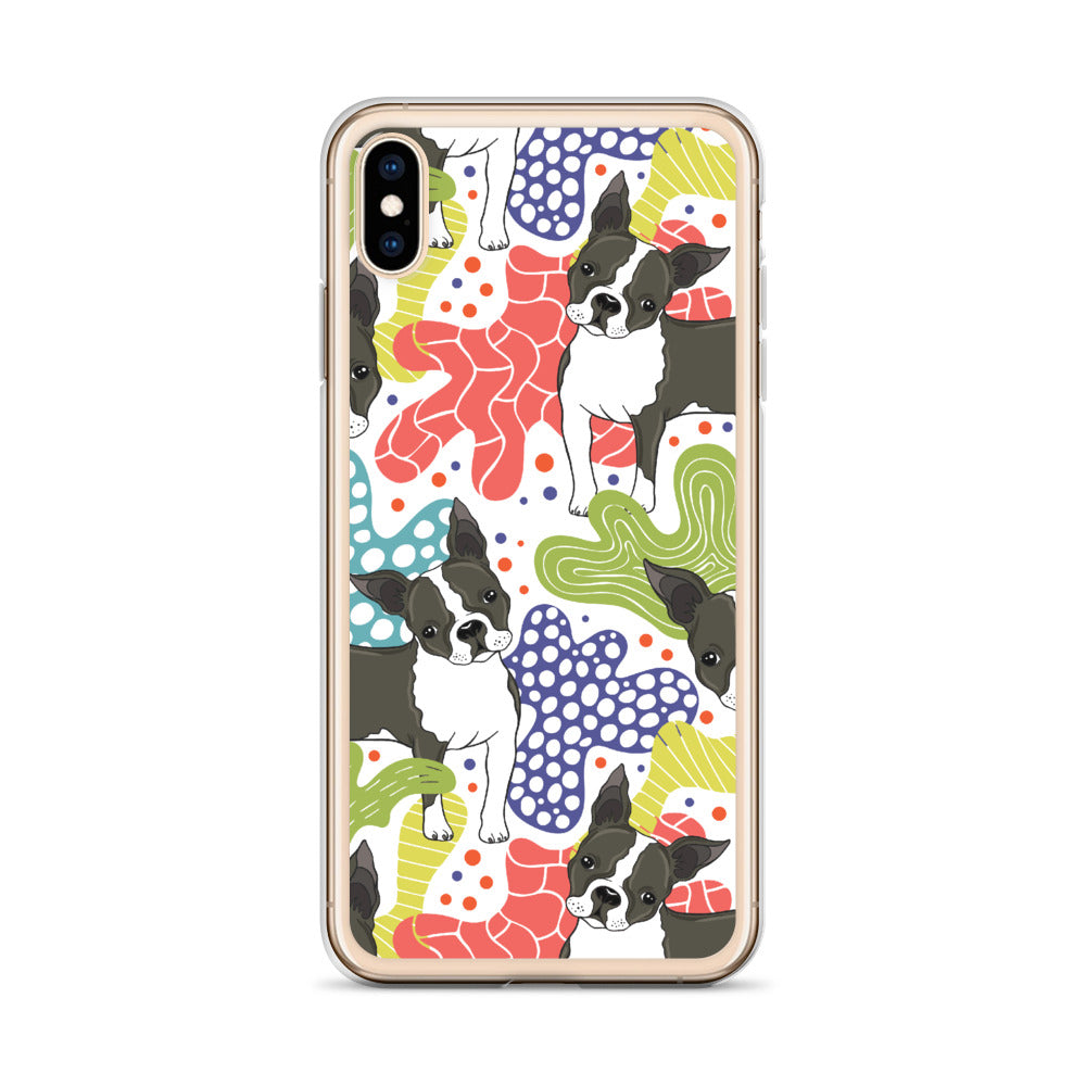 Boston Terrier Abstract Plants iPhone Case (Generations 6 - 11) | Dog & Shark | Funny Gift Ideas
