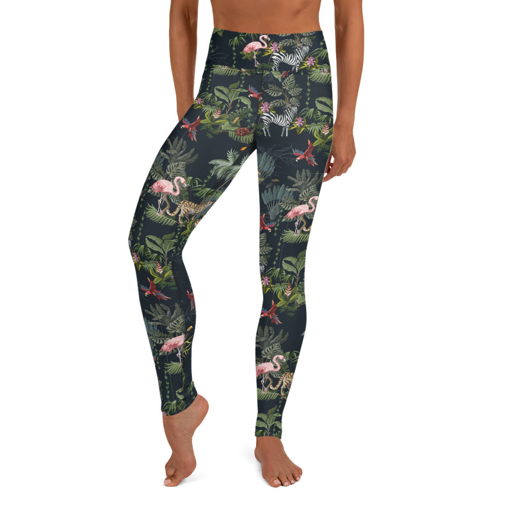Flamingo, Zebra, Cheetah Jungle Yoga Leggings | Dog & Shark | Funny Gift Ideas