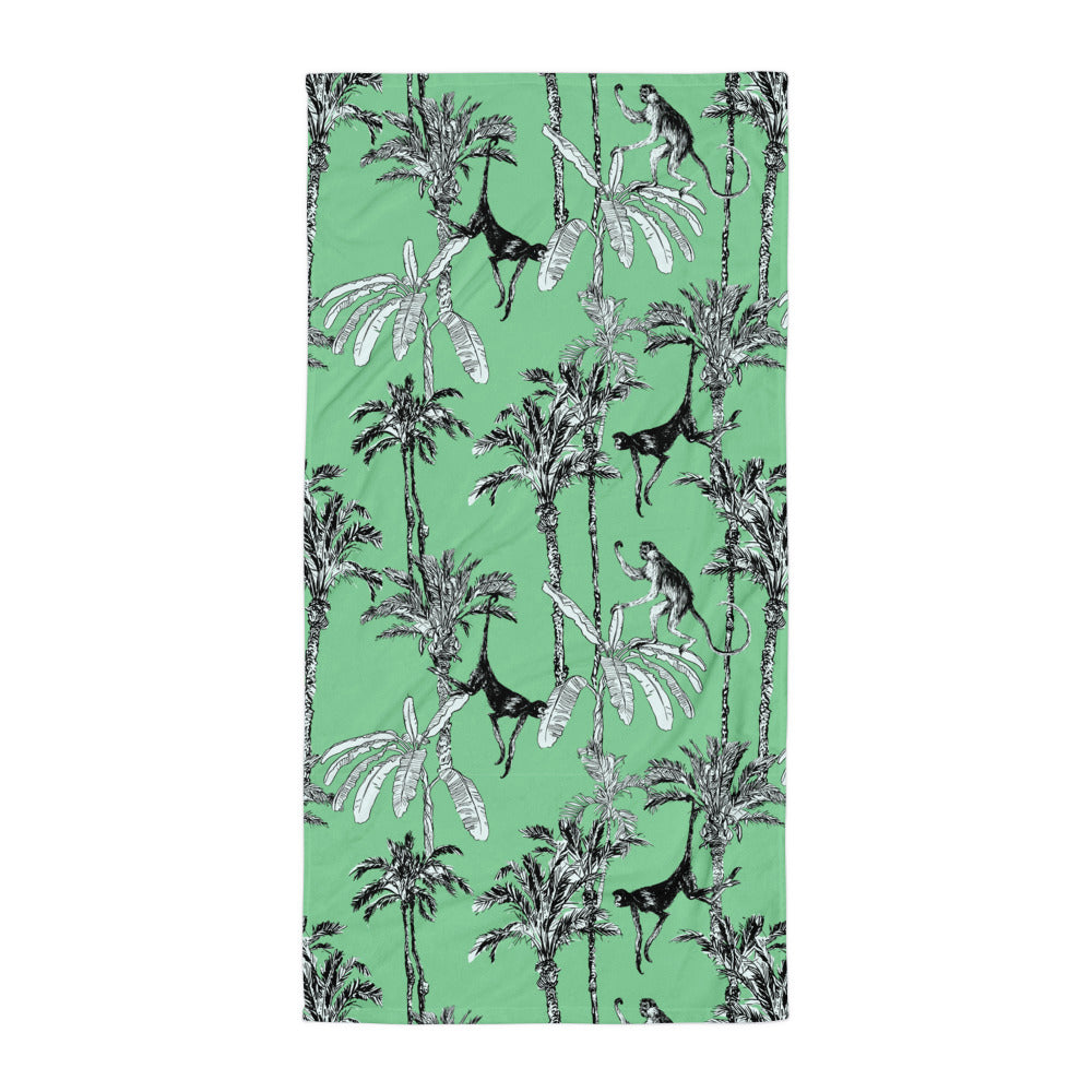 Green Toile Monkey Jungle Beach Towel | Dog & Shark | Funny Gift Ideas