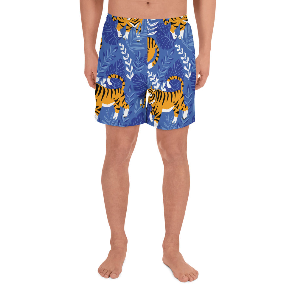 Tiger Blue Print Men's Athletic Long Shorts | Dog & Shark | Funny Gift Ideas
