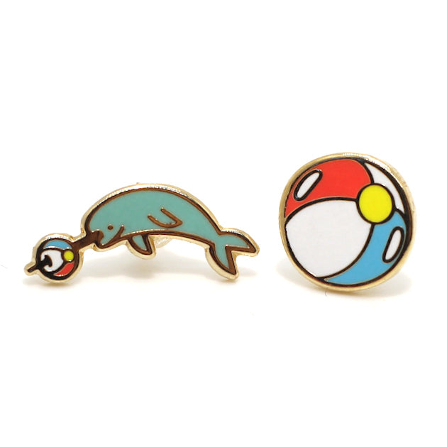 Narwhal Beach Ball 22K Gold Earrings | Dog & Shark | Funny Gift Ideas