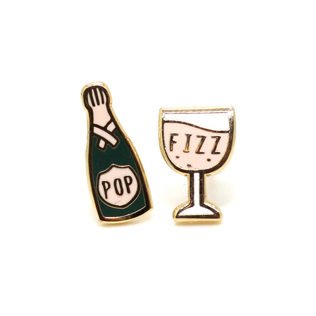 Champagne Fizz 22K Gold Earrings | Dog & Shark | Funny Gift Ideas