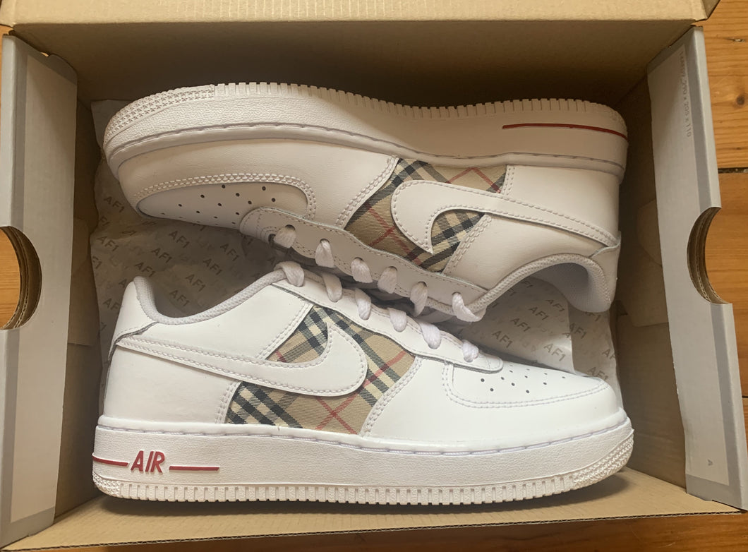 Burberry Style With Red Accents - Air Force 1s