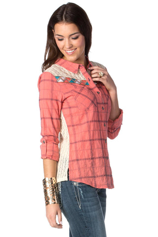 Miss Me Contrast Plaid Top