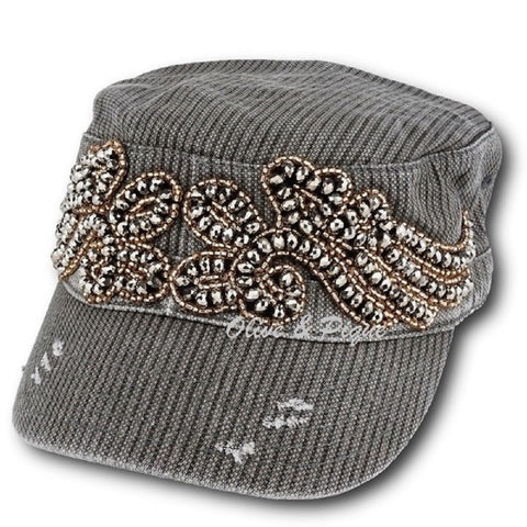 Olive & Pique Beaded Wings Cadet Cap