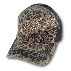 Olive & Pique Paisley Bling Floral Trucker Hat