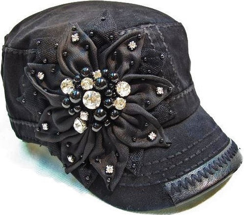 Olive & Pique Fabric Flower with Bling Military Hat in Black