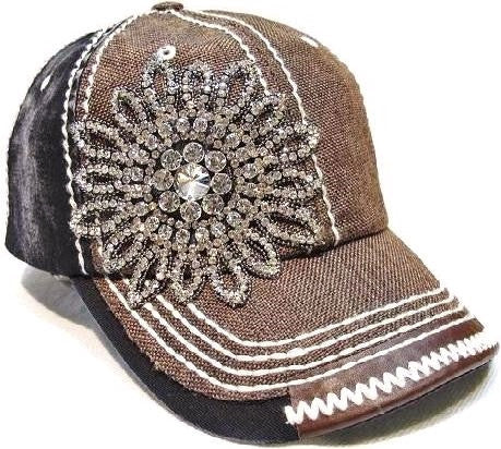 Olive & Pique Bling Flower Two Toned Baseball Hat in Brown