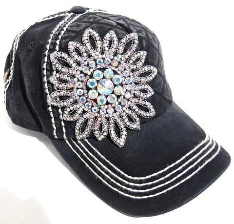 Olive & Pique Bling Quilted Washed Cap with AB Crystals in Black