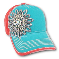 Olive & Pique AB Crystals Bling Flower Baseball Cap