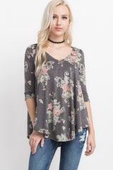 Floral Print High Low Top