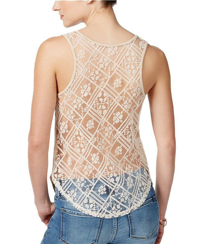 Miss Me Embroidered Sheer Back Tank