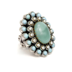 Ollipop Aqua and Pearls Oval Ring