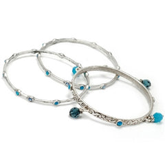 Sweet Romance Set of 3 Crystal Bangle Bracelets