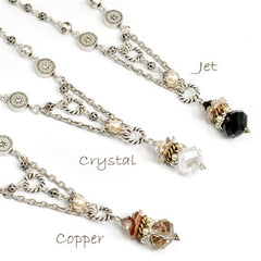 Sweet Romance Crystal & Pearls Drop Necklace