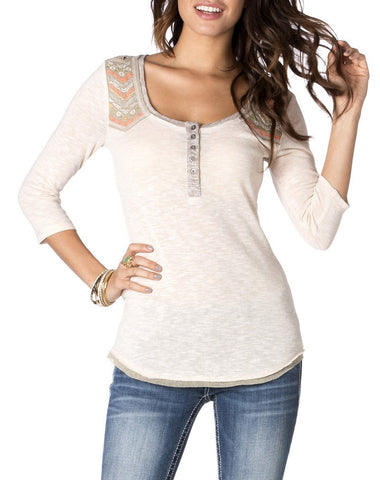 Miss Me Embroidered Henley Top