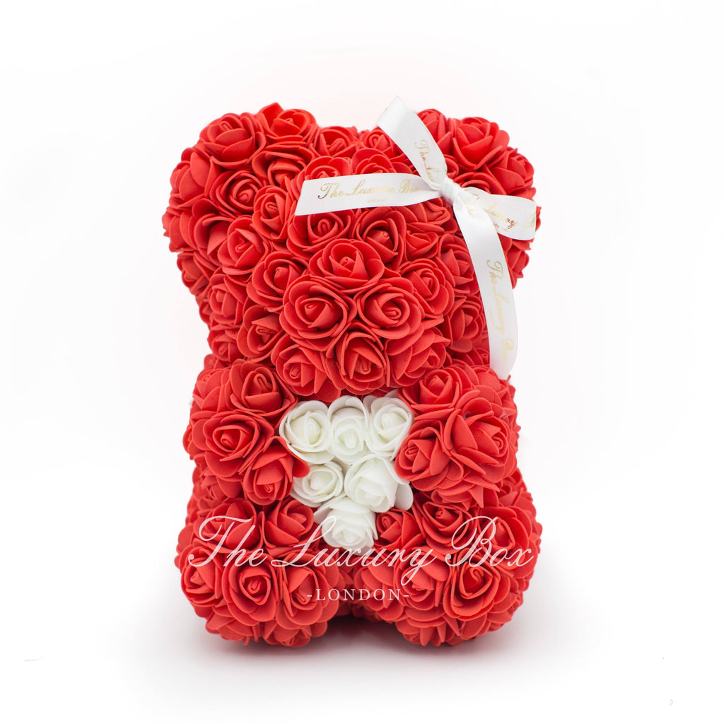 Small Rose Bear - Red With Heart - 10IN.- The Luxury Box USA