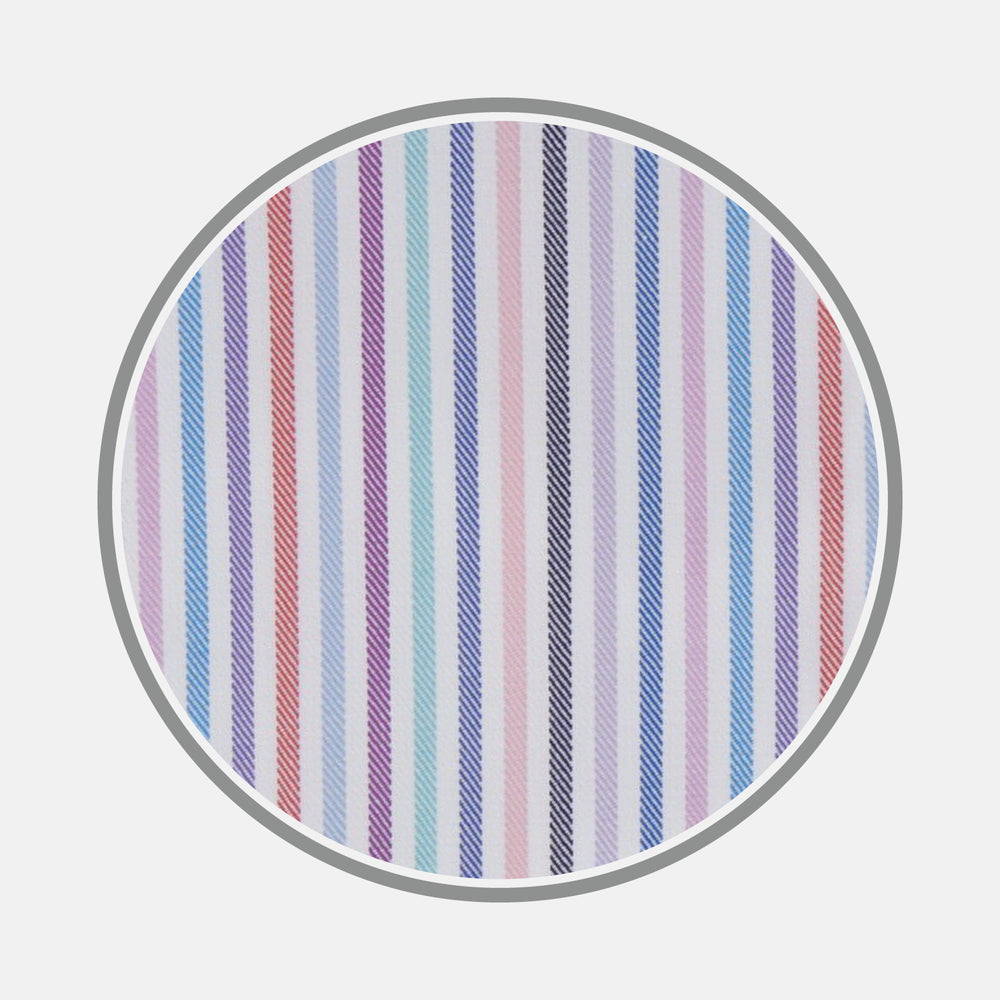 Blue, Pink and Red Graph Stripe Cotton Fabric