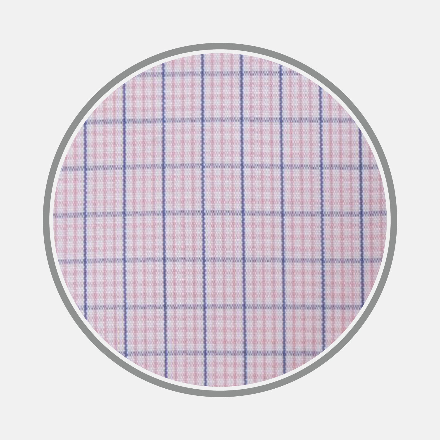 Pink and Navy Windowpane Check Cotton Fabric