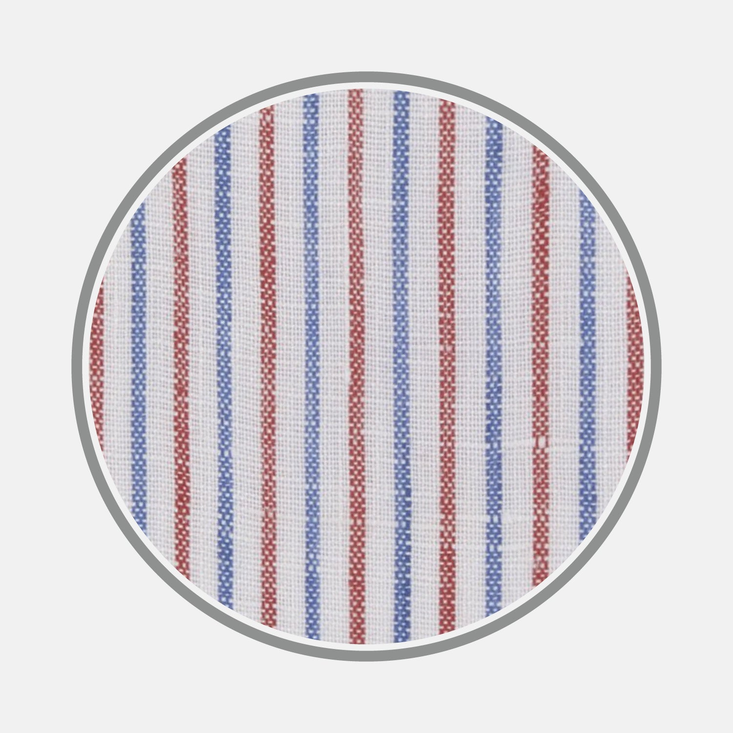 Red and Blue Ticking Stripe Linen Fabric