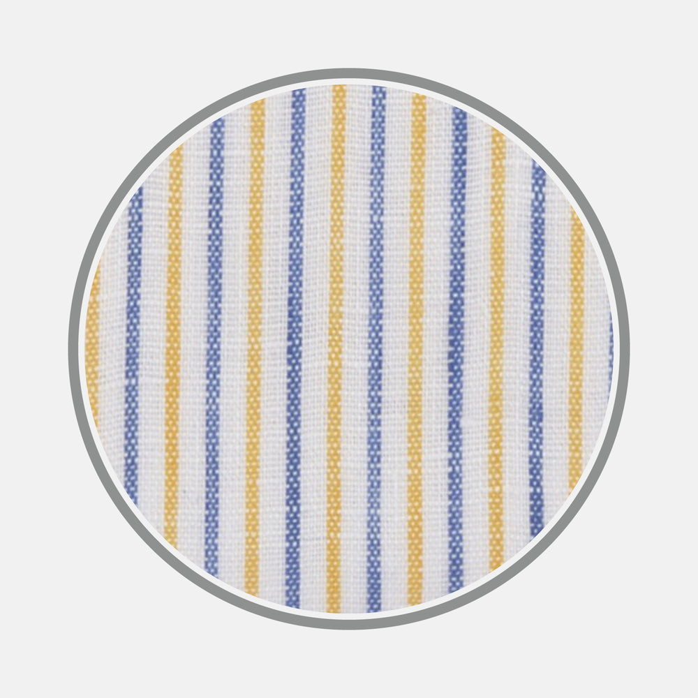 Yellow and Blue Ticking Stripe Linen Fabric