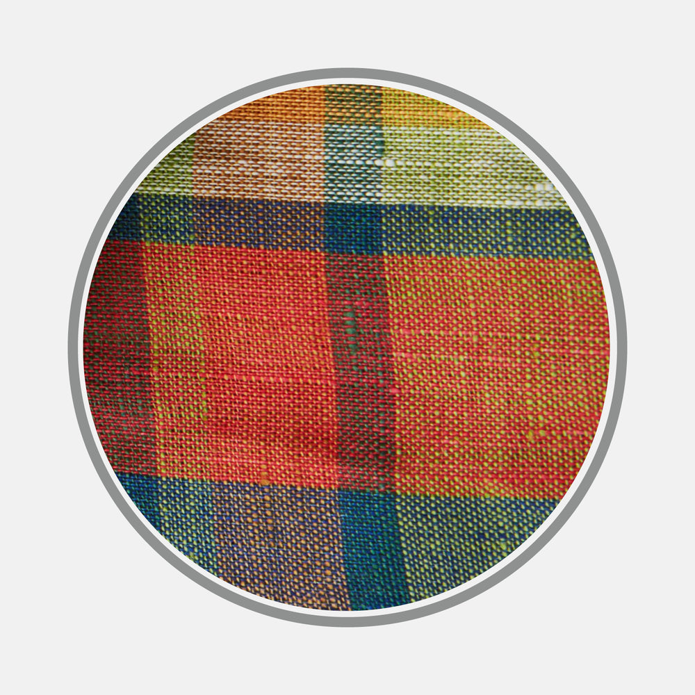 Orange Madras Check Linen Fabric