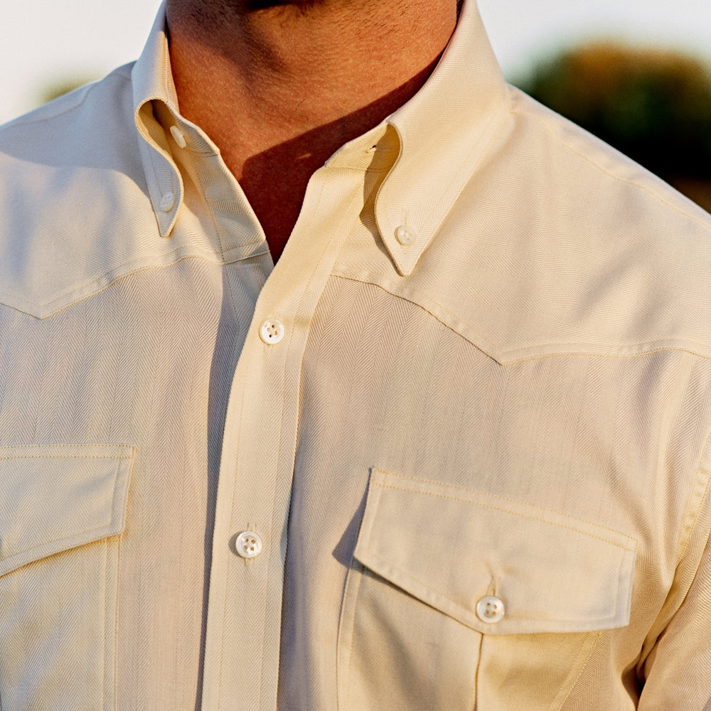 Weekend Fit Cream Herringbone Western Shirt with Norfolk Collar and Button Cuffs