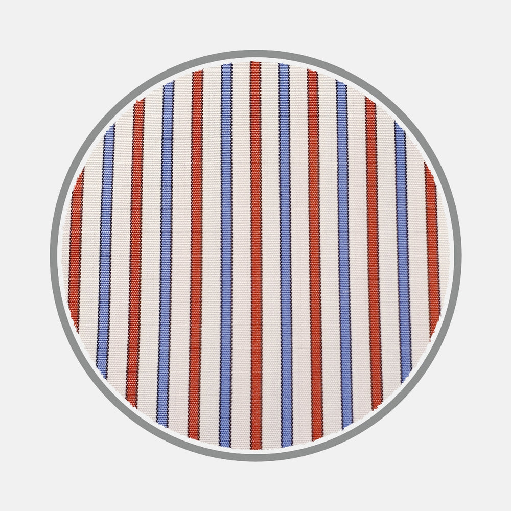 Blue and Red Stripe Silverline Cotton Fabric