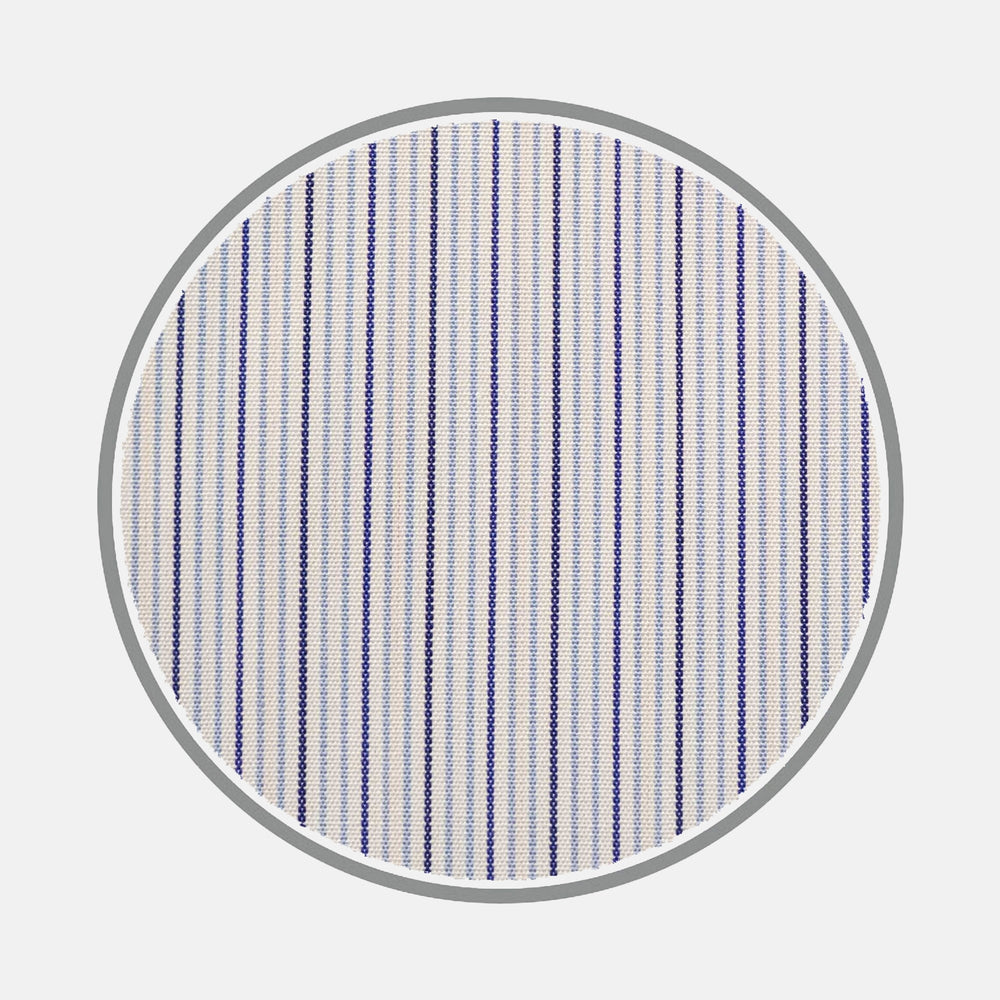 Navy and Light Blue Fine Stripe Silverline Cotton Fabric