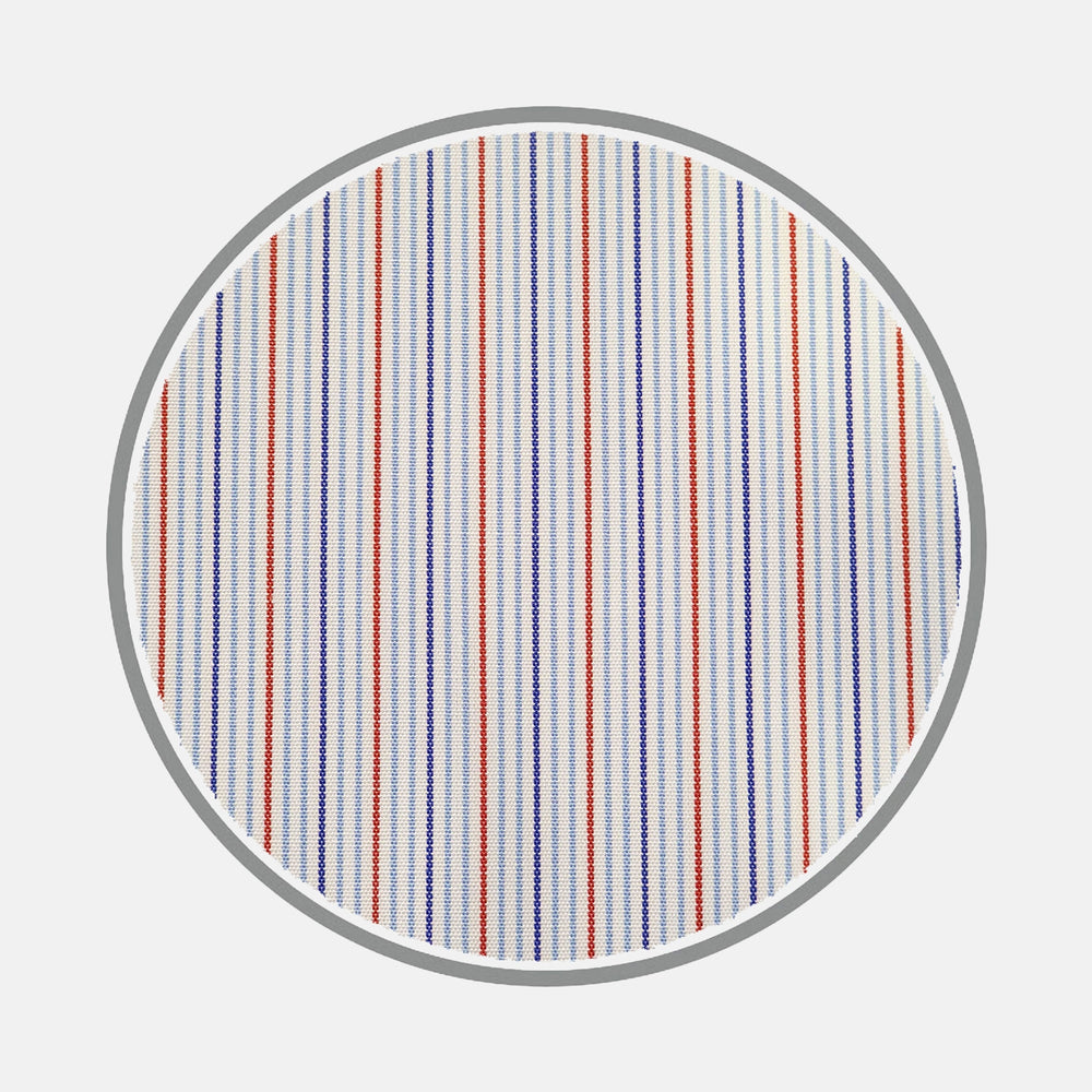 Navy and Red Fine Stripe Silverline Cotton Fabric