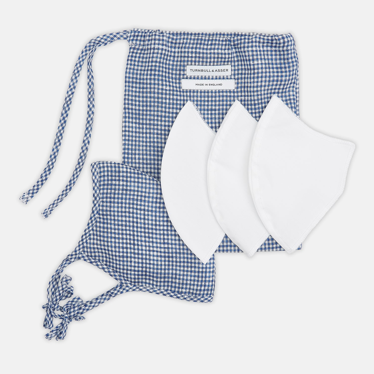 Blue & White Linen Check Commuter Mask With 3 Viroformula™ Filters